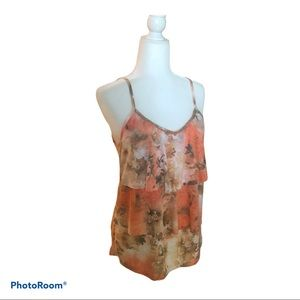 INC Beaded Tiered Floral Tank Top Size Medium